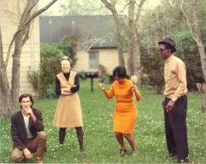 Townes Van Zandt, Mimi Lomax, Antoinette Hopkins Charles, and Lightnin' Hopkins. (photo: John Lomax III)